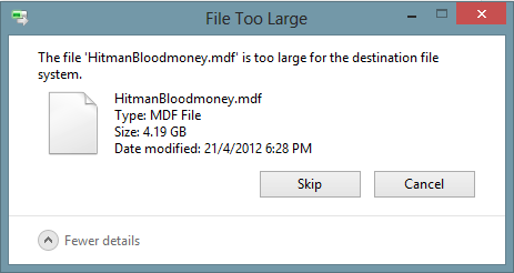 Windows - File Too Large for destination file system