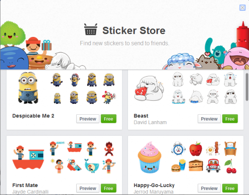 Facebook Stickers come to the Web (Browser) version ...