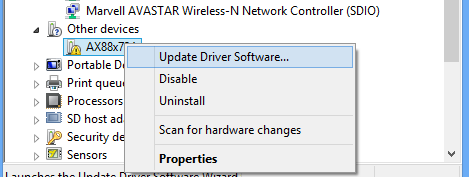 win rt update driver
