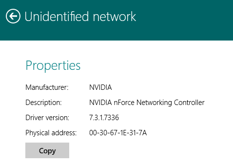 Connection Properties Windows 8.1 Modern