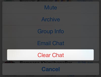 iPhone whatsapp tap clear chat