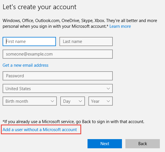 add user without ms account link