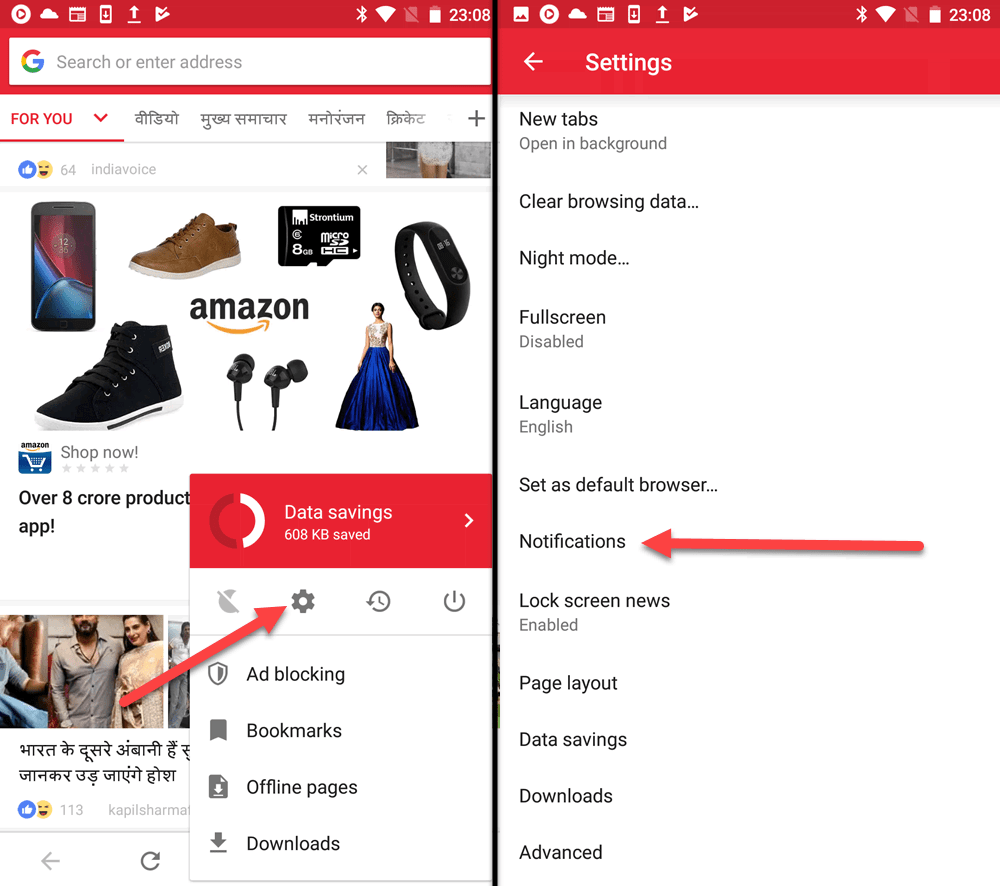How to Disable News Feed & Notifications in Opera Apps for