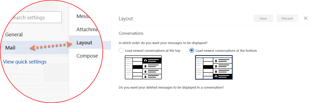 Layout settings in outlook.com new version