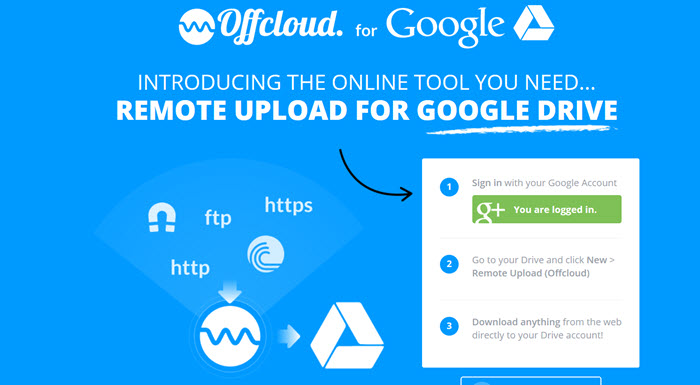 Upload remote files to Google Drive using Offcloud