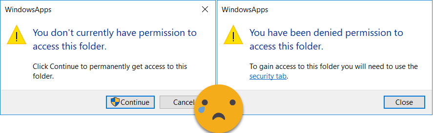 permission denied to WindowsApps folder