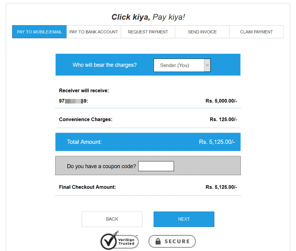 Charge for sending money using PayDeck