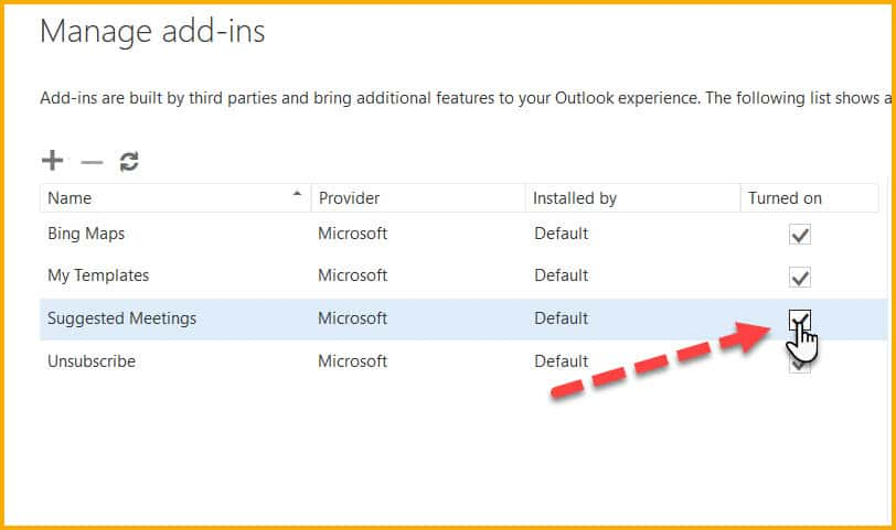 Manage Add-ins in old interface of Outlook.com