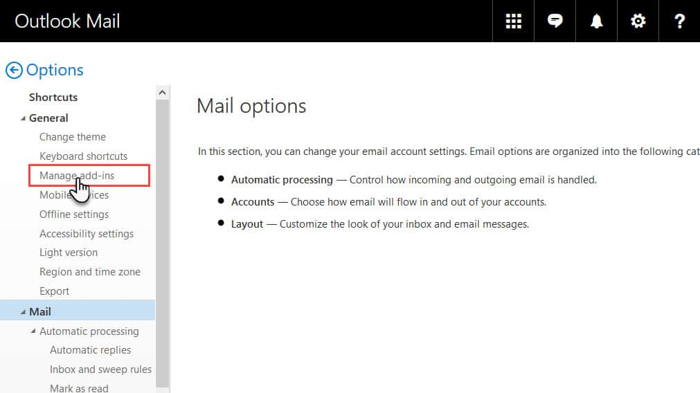 Mail options in Old Outlook.com