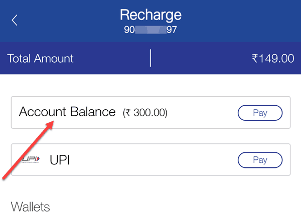 Recharge Jio plan using Top-Up balance