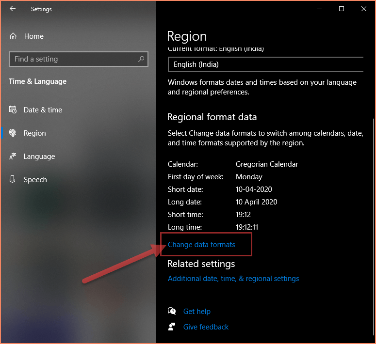 Region settings screen of Windows 10