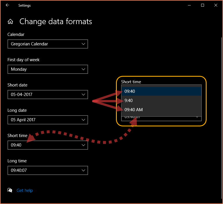 Change data format settings in Windows 10