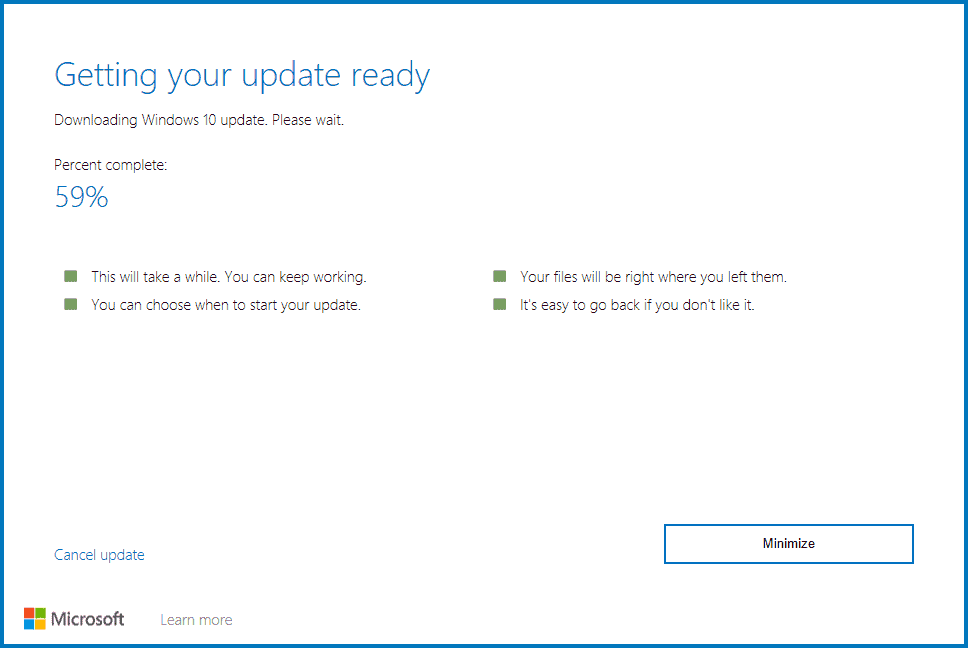 Update Assistant is downloading update