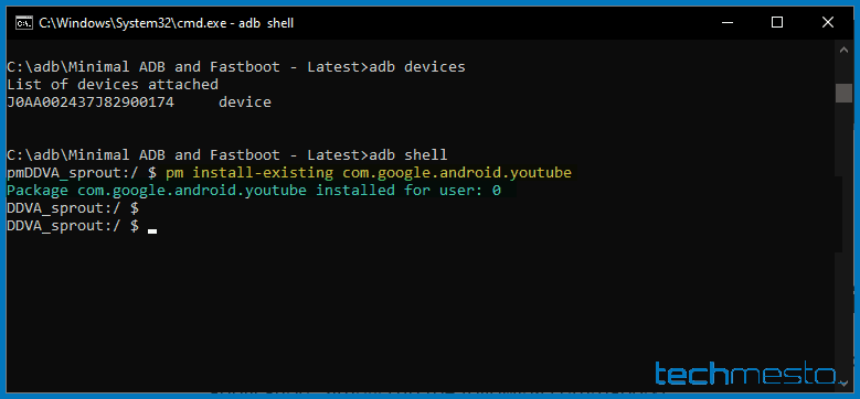 Re-install an app using adb shell